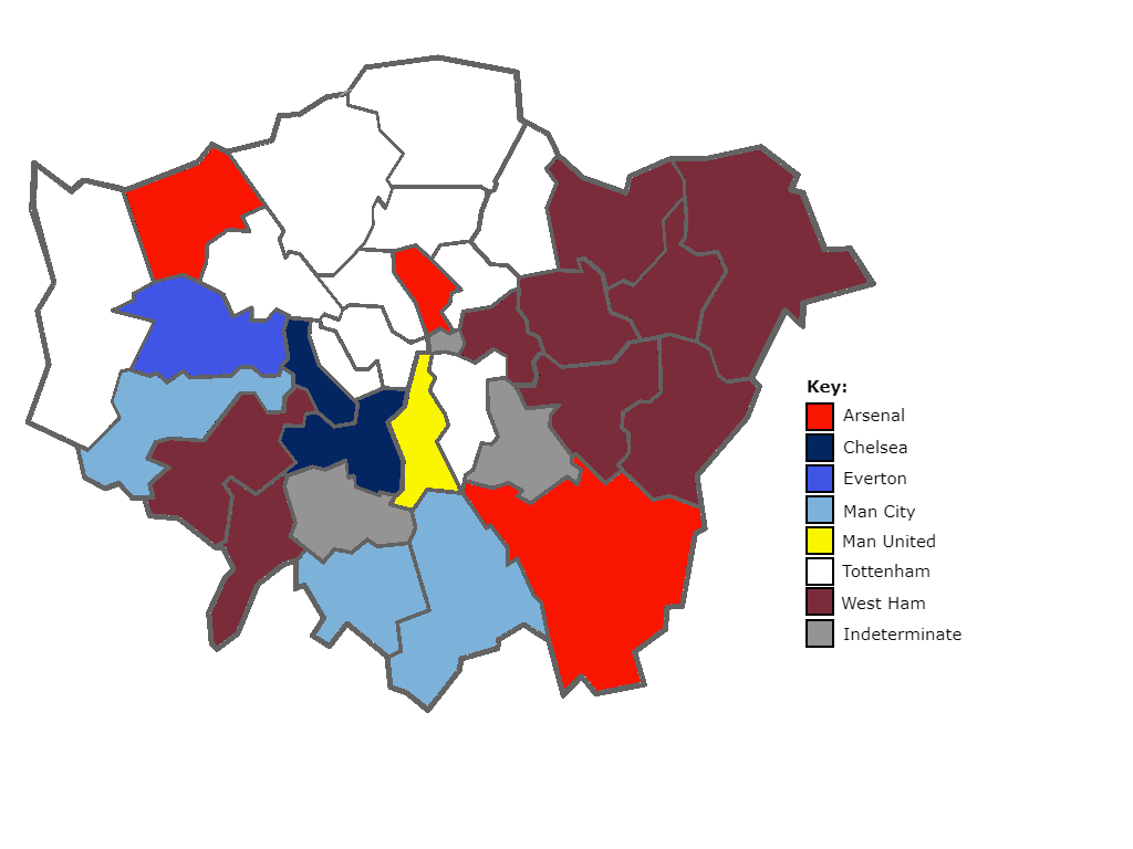 most supported football clubs in London